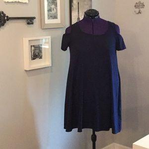 Navy blue cold shoulder knit dress